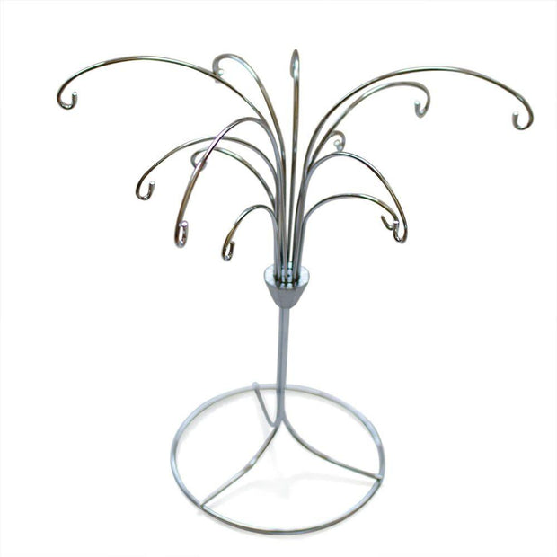 "BestPysanky Egg Decorating > Stands > Ornament Stands - 12"" Tree Silver Brass Metal 12 Ornaments Stand"
