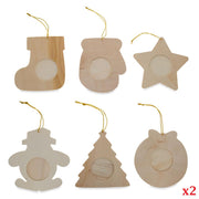Set of 12 Unfinished Wooden Picture Frame Christmas Ornaments by BestPysanky