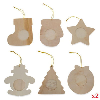 Set of 12 DIY Unfinished Wood Picture Frame Christmas Ornaments by BestPysanky