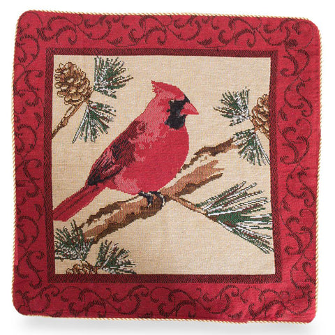 "18"" Red Cardinal Christmas Throw Cushion Pillow Cover"