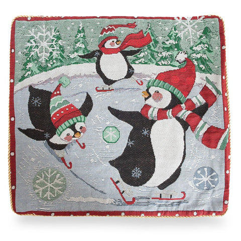 "18"" Christmas Penguins Skating Throw Cushion Pillow Cover"