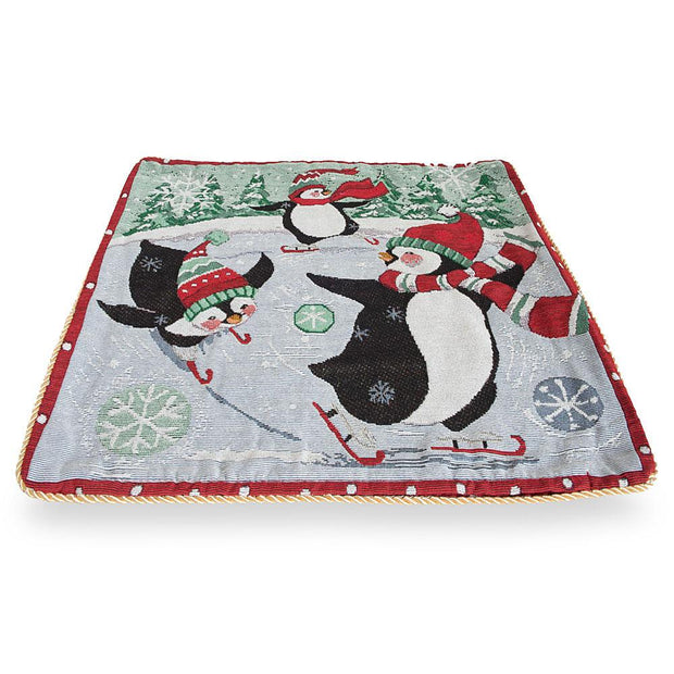 Set of 2 Skating Penguins Christmas Throw Pillow Covers