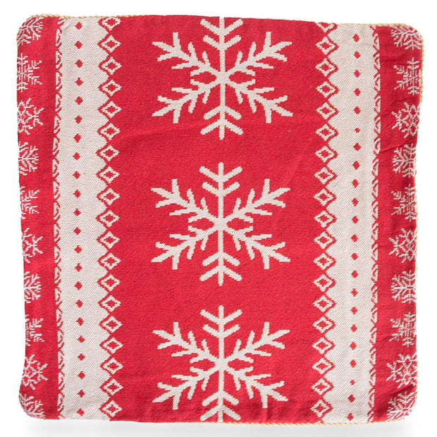 Set of 2 White Snowflakes on Red Christmas Throw Cushion Pillow Covers
