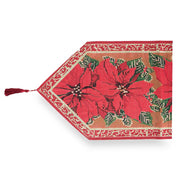 Poinsettia Flowers Christmas Tablecloth Holiday Runner 75 Inches