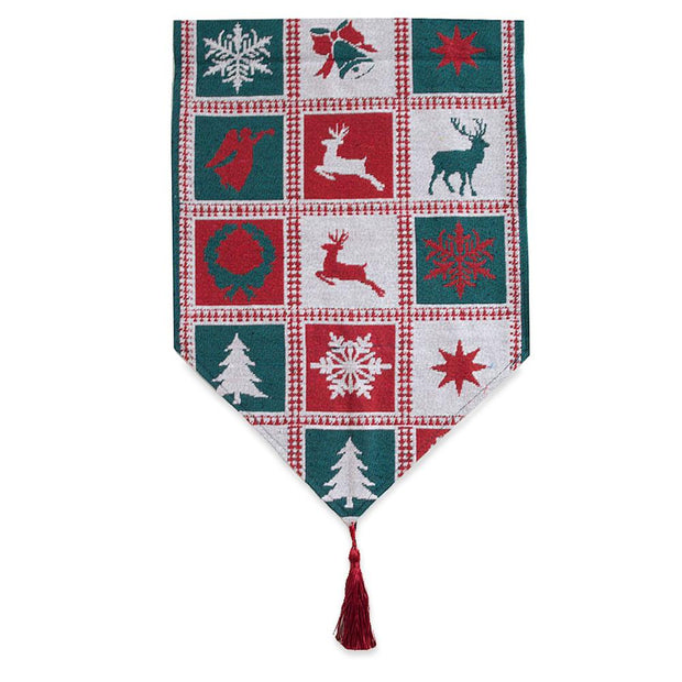 Square Patterns Christmas Tablecloth Holiday Runner 75 Inches