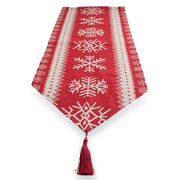 Snowflakes on Red Pattern Christmas Table Runner 76.5 Inches