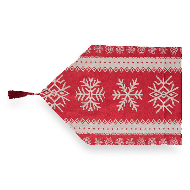 "76.5"" Snowflakes on Red Pattern Christmas Table Runner"