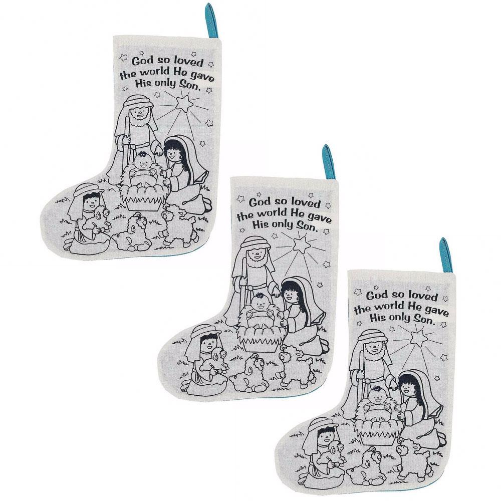 - Set Of 3 Paint Your Own Nativity Scene Christmas Stockings