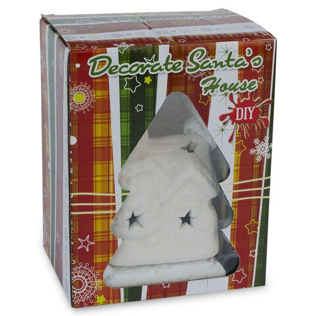 Paint your Own White Unfinished Santa House DIY Craft Kit