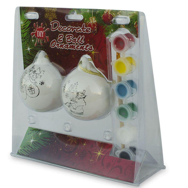 Set of 2 Unfinished Paint your Own Santa Christmas Ornaments DIY Craft Kit