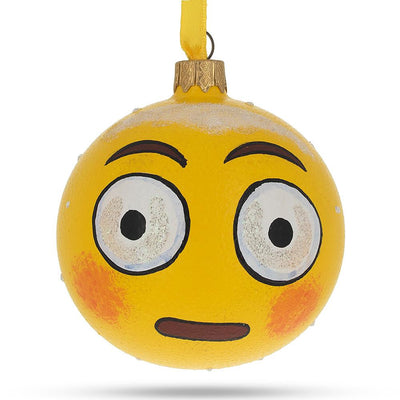 Rolling Eyes Emoji Glass Ball Christmas Ornament 3.25 Inches by BestPysanky