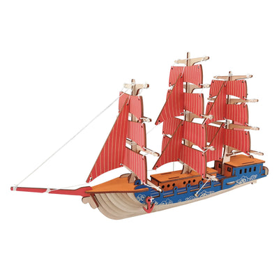 Sailing Ship Model Kit - Wooden Laser-Cut 3D Puzzle (77 Pcs) by BestPysanky