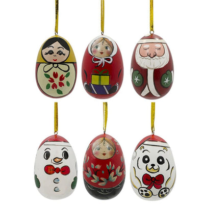 Set of 6 Santa, Snowman, Teddy Bear, Matryoshka Russian Dolls Wooden Christmas Ornaments by BestPysanky
