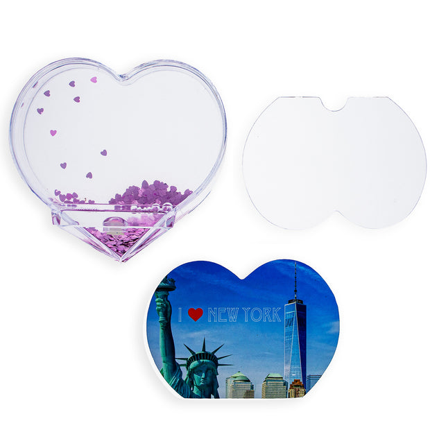 NYC, New York Heart Shaped Clear Acrylic Plastic Water Globe Picture Frame