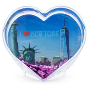 Buy Online Gift Shop NYC, New York Heart Shaped Clear Acrylic Plastic Water Globe Picture Frame