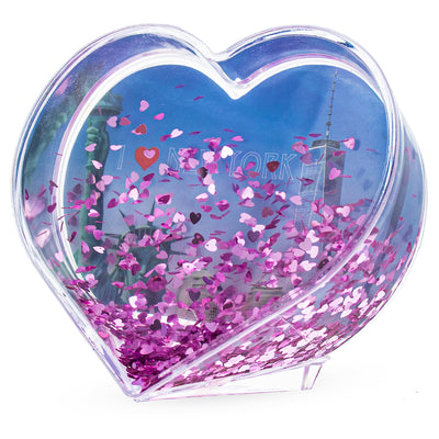 New York NYC Heart Shaped Clear Acrylic Plastic Water Globe Picture Frame by BestPysanky