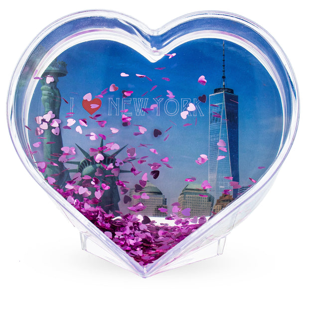 New York NYC Heart Shaped Clear Acrylic Plastic Water Globe Picture Frame