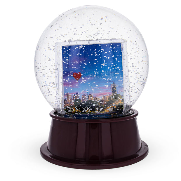 Chicago Clear Plastic Snow Water Globe Picture Frame by BestPysanky