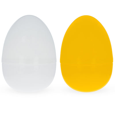 Set of 2 Yellow And White Giant Fillable Plastic Easter Eggs 10 Inches by BestPysanky