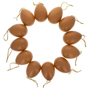 Set of 12 Brown Solid Plastic Easter Egg Ornaments 5.15 Inches by BestPysanky