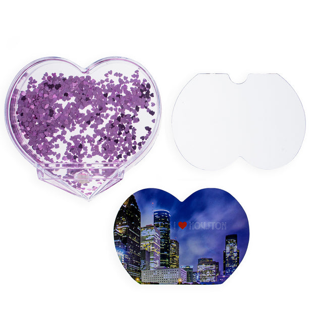 Houston Heart Shaped Clear Acrylic Plastic Water Globe Picture Frame