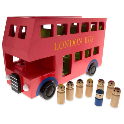 Wooden Red Double Decker Bus with 8 Passengers Play Figurines 11.8 Inches by BestPysanky
