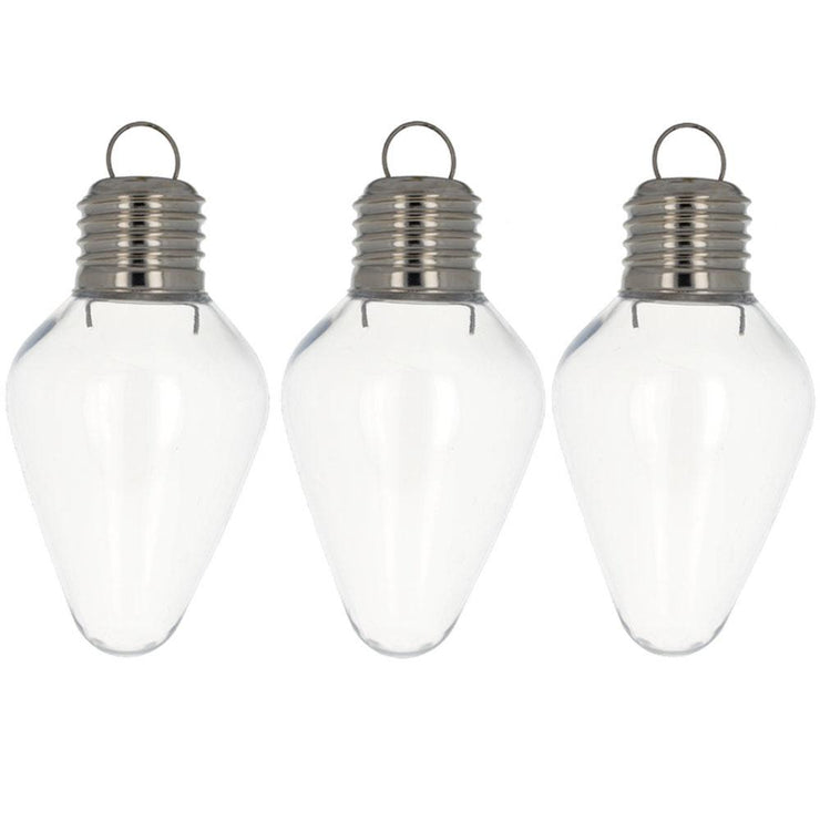 Set of 3 Clear Plastic Light Bulb Christmas Ornaments DIY Craft 4 Inches by BestPysanky