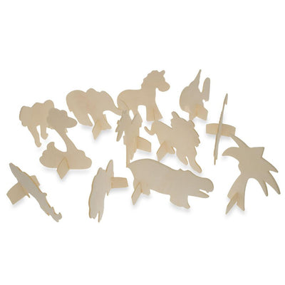 12 Safari Animals Unfinished Wooden Shapes Craft Cutouts DIY Unpainted 3D Plaques 4 Inches by BestPysanky