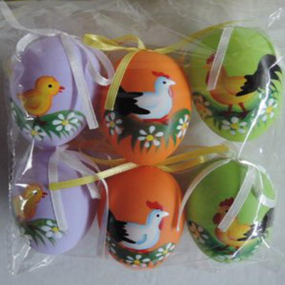Set of 6 Hand Painted Solid Plastic Easter Egg Ornaments 2.25 Inches by BestPysanky