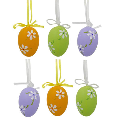 Set of 6 Green, Purple, Orange Flowers Plastic Easter Egg Ornaments 2.25 Inches by BestPysanky