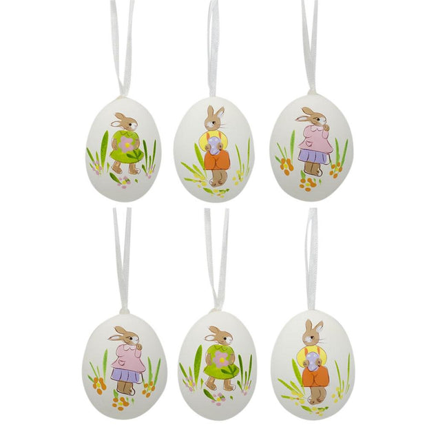 Set of 6 Real Eggshell Hand Painted Bunny Easter Egg Ornaments 2.5 Inches by BestPysanky