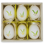 Buy Online Gift Shop Set of 6 Real Eggshell Hand Painted Bunny Easter Egg Ornaments 2.5 Inches