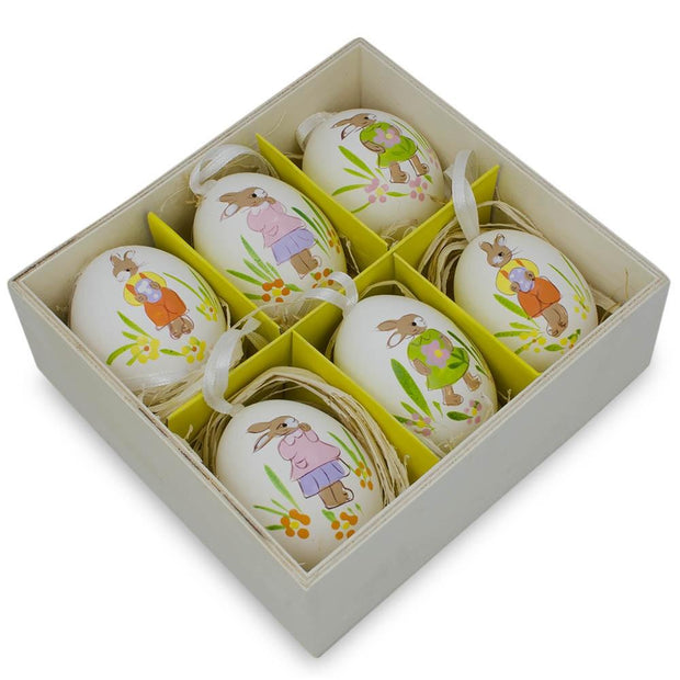 Set of 6 Real Eggshell Hand Painted Bunny Easter Egg Ornaments 2.5 Inches