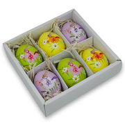 Set of 6 Real Eggshell Bunny and Flowers Pysanky Easter Egg Ornaments 2.5 Inches by BestPysanky