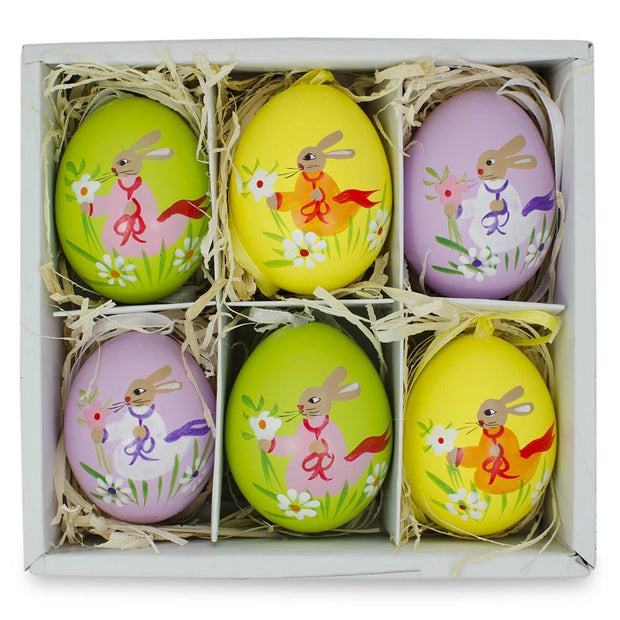 Buy Online Gift Shop Set of 6 Real Eggshell Bunny and Flowers Pysanky Easter Egg Ornaments 2.5 Inches
