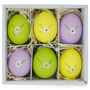Set of 6 Real Eggshell Bunny and Flowers Pysanky Easter Egg Ornaments 2.5 Inches