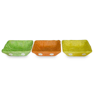 Set of 3 Green, Orange & Yellow Sisal Silk Trays 7 Inches by BestPysanky