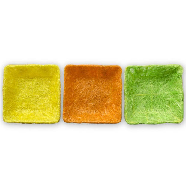 Buy Online Gift Shop Set of 3 Green, Orange & Yellow Sisal Silk Trays 7 Inches