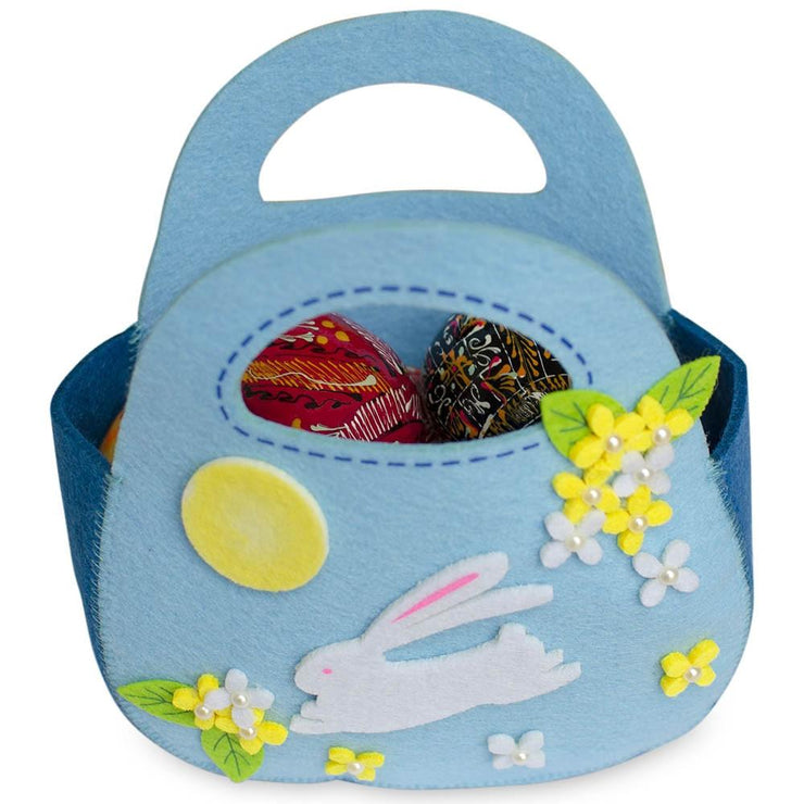 Buy Online Gift Shop Set of 2 Easter Baskets White Bunnies Pink and Blue Felt Totes 7.5 Inches
