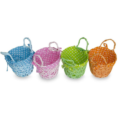 Set of 4 Blue, Green, Pink & Orange Fabric Lining Easter Baskets 4 Inches by BestPysanky