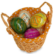 Buy Online Gift Shop Set of 4 Blue, Green, Pink & Orange Fabric Lining Easter Baskets 4 Inches