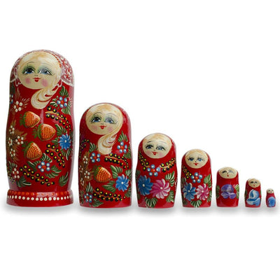 Set of 7 Embossed Strawberries on Red Dress Russian Nesting Dolls 8.5 Inches by BestPysanky