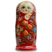 Set of 7 Embossed Strawberries on Red Dress Russian Nesting Dolls 8.5 Inches