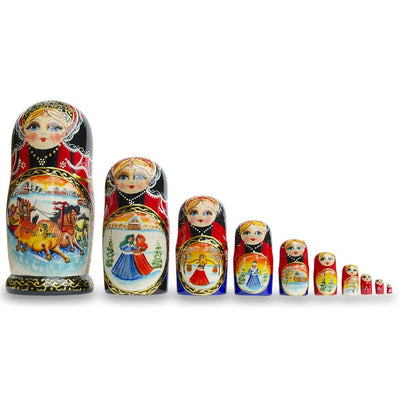 Set of 10 Holiday Sleigh Ride on Horses Russian Nesting Dolls 10.5 Inches by BestPysanky