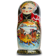 Buy Online Gift Shop Set of 10 Holiday Sleigh Ride on Horses Russian Nesting Dolls 10.5 Inches