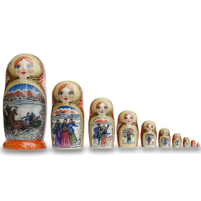 Set of 10 Winter Sleigh Ride Russian Nesting Dolls 10.5 Inches by BestPysanky