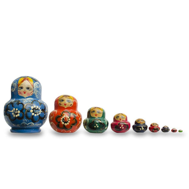 Set of 9 Rainbow Collection Blue Russian Nesting Dolls Matryoshka 4.75 Inches by BestPysanky