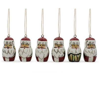 Set of 6 Santa Wooden Christmas Ornaments 1.5 Inches by BestPysanky