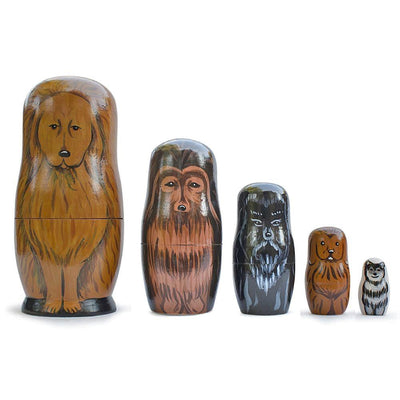 5 Dogs Wooden Russian Nesting Dolls Matryoshka 6.5 Inches by BestPysanky