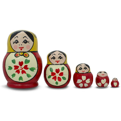 Set of 5 Semenov Classic Wooden Russian Nesting Dolls Matryoshka 3.5 Inches by BestPysanky